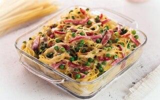 Spaghettini gratinati al prosciutto