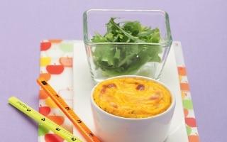 Flan di carote alle nocciole con insalatina...