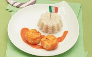 Polpettine di pollo con timballini di riso