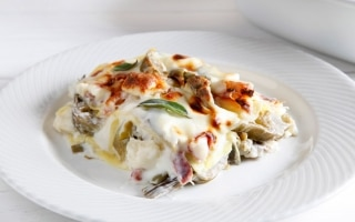 Lasagne ai carciofi, taleggio e pancetta...