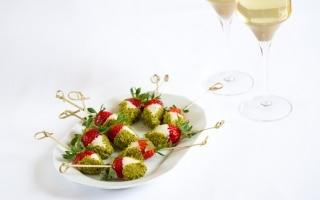 Fragole al cioccolato bianco e pistacchi