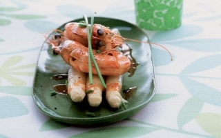 Gamberoni e asparagi
