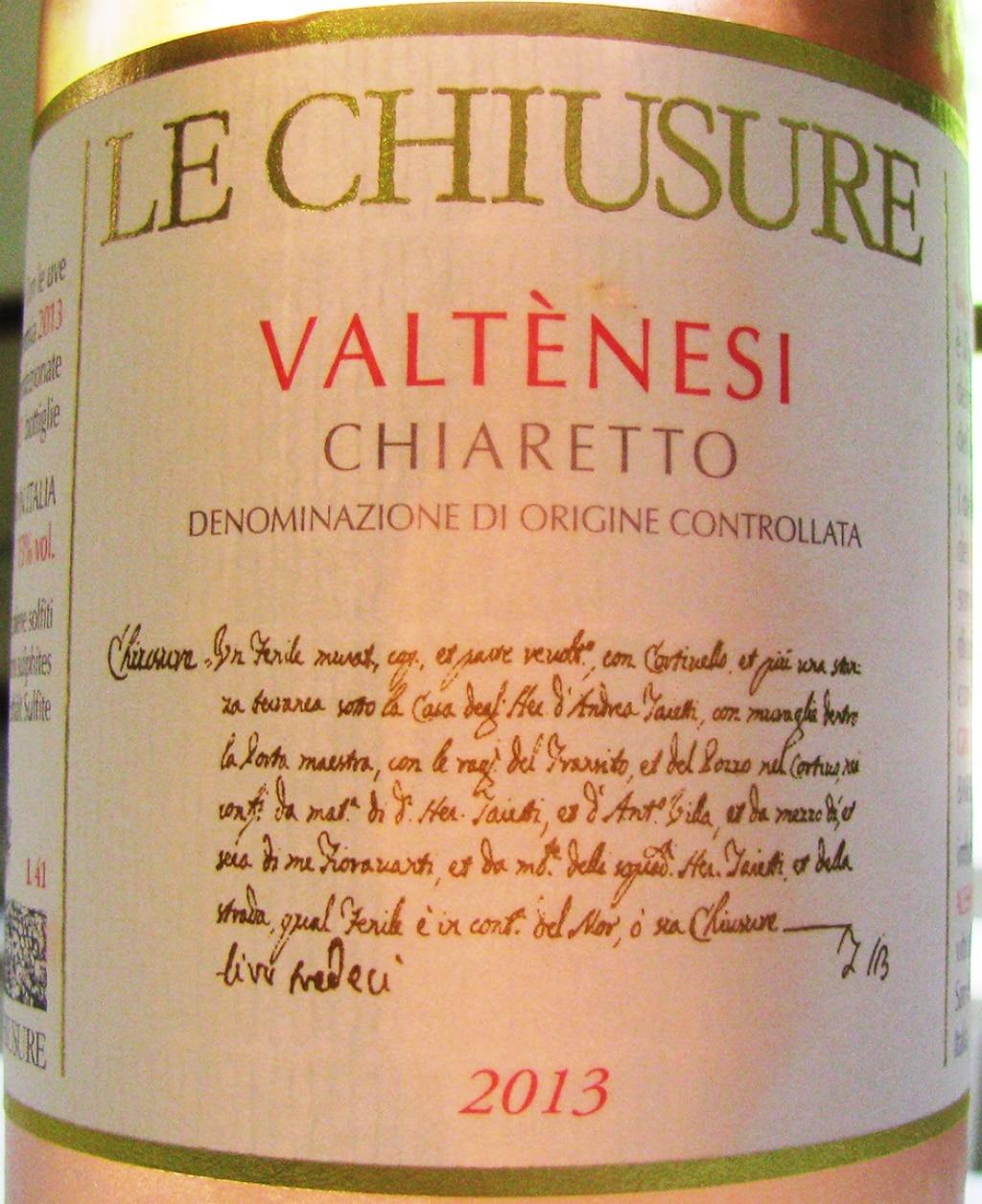 DOC Chiaretto Valtènesi - Le Chiusure 2013