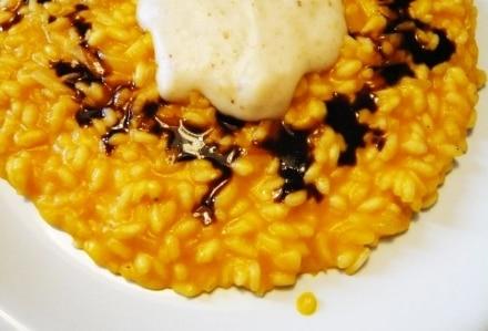 Risotto Alla Zucca con Crema di Parmigiano e Aceto Balsamico