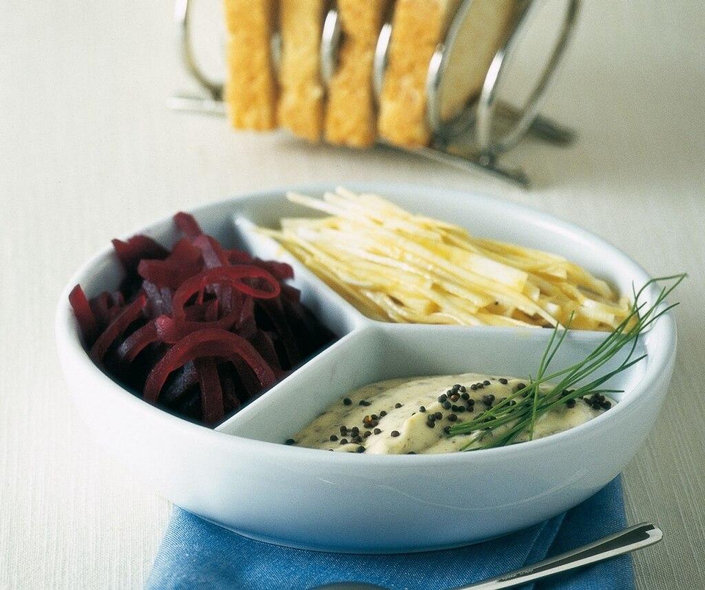 Ricetta barbabietole e sedano rapa con maionese alla for Cucinare barbabietole