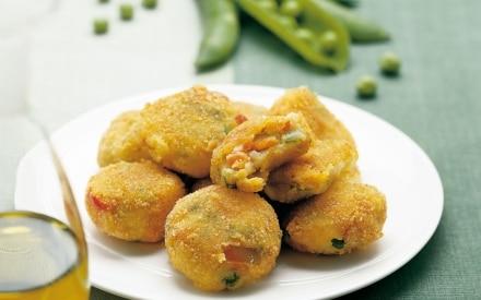 Frittelle di patate con verdure miste