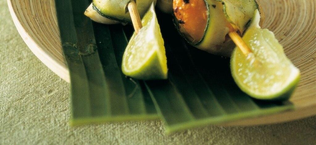Spiedini di noci di capesante al lime