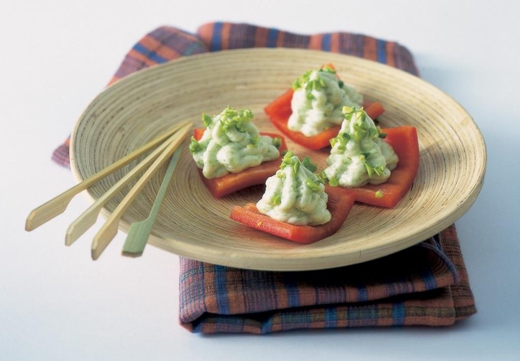 Tartine di peperone con gorgonzola ai pistacchi