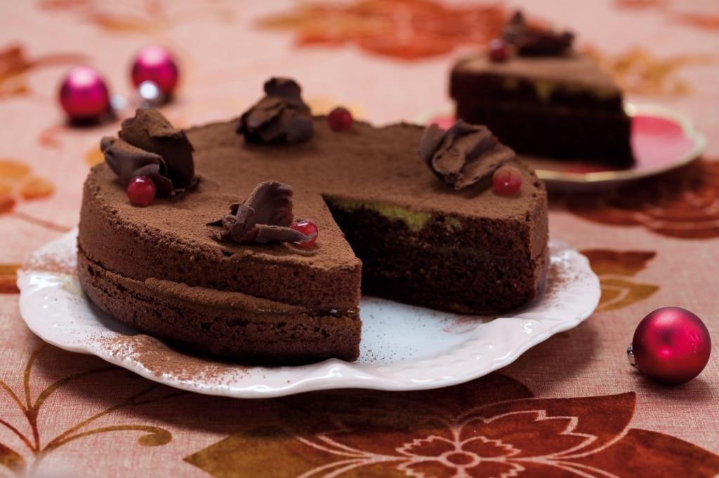 Torta di cioccolato, gelatina e pompelmo