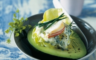 Avocado con ripieno d'aragosta