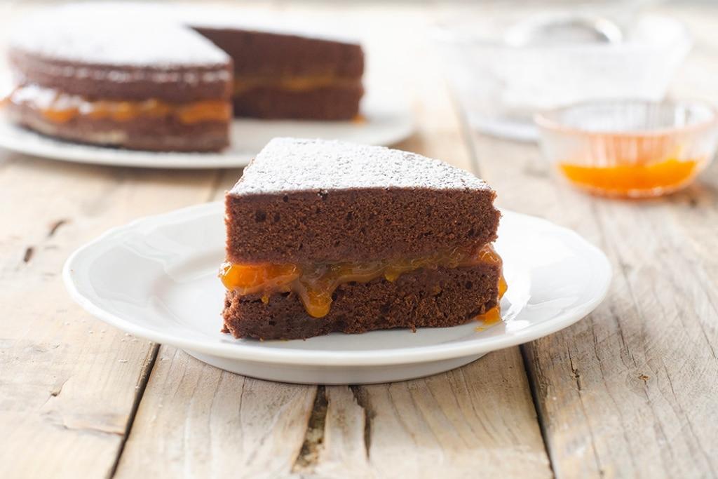 Torta al cioccolato con marmellata d'albicocche