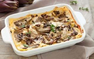 Lasagne ai carciofi e funghi
