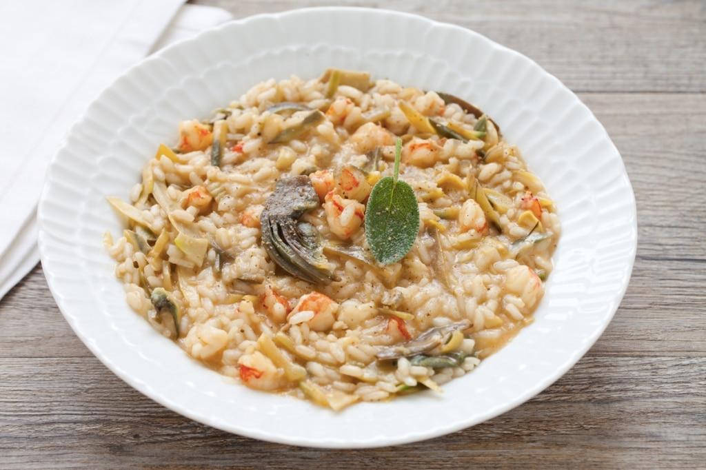 ricetta risotto ai carciofi e salsa di gamberi cucchiaio