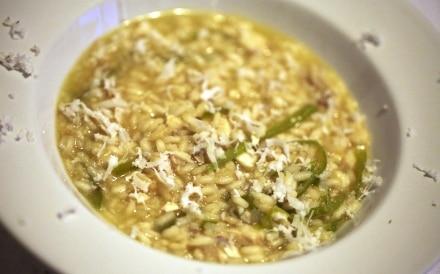 Riso di mare con gallinella, peperoni verdi friarelli, cocco