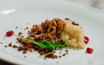 Insalata tiepida di quinoa, ragù di calamari e sabbia di pane agliato