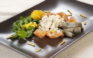 Insalata salmone, mozzarella e carciofi