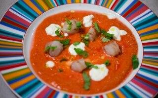 Mazzancolle, gazpacho leggero e salsa yogurt...