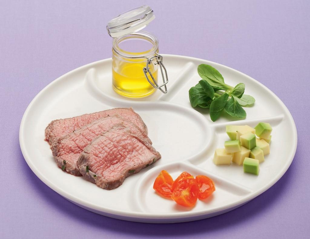 Roast-beef di magatello all'alloro con verdure