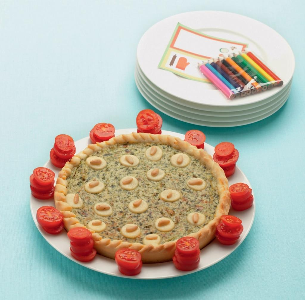 Torta di bietoline e ricotta con pomodorini