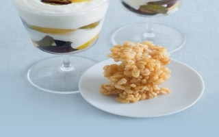 Crema di riso alla vaniglia con prugne