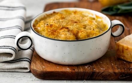Zuppa di porri e patate al gratin con finocchietto