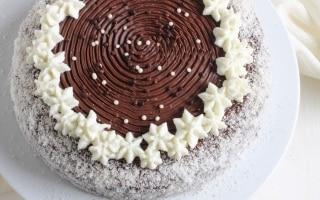 Torta al cioccolato fondente con crema al...