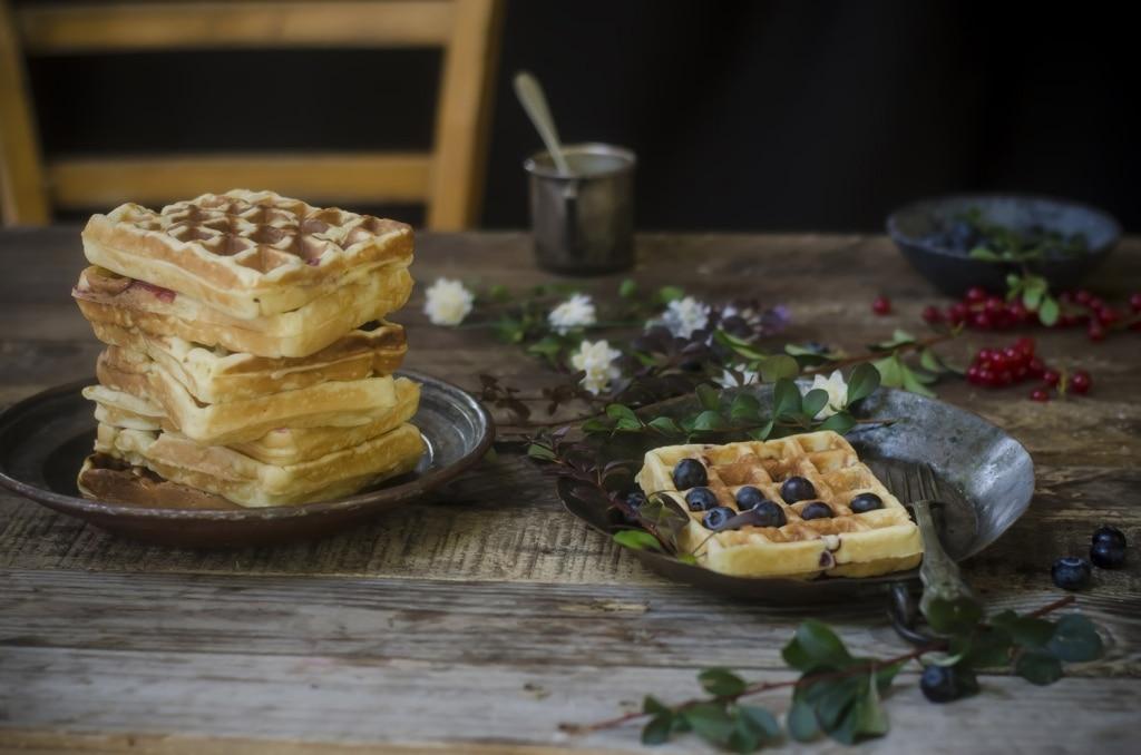 waffle alla ricotta e mirtilli