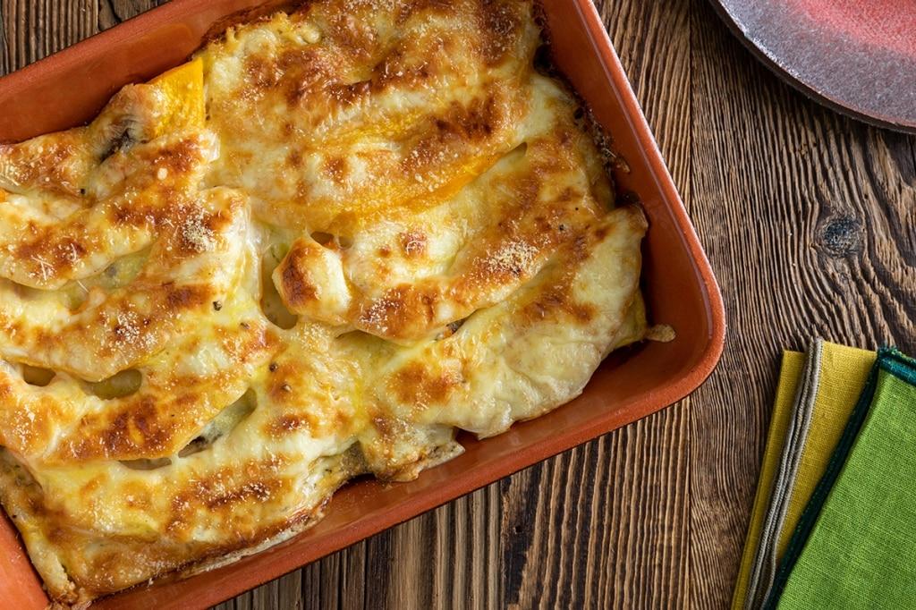 Gratin di pane, zucca e formaggio