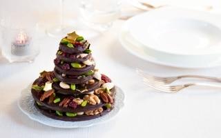 Alberello di Natale di cioccolato e frutta...