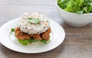 Burger di riso e pollo in salsa di soia