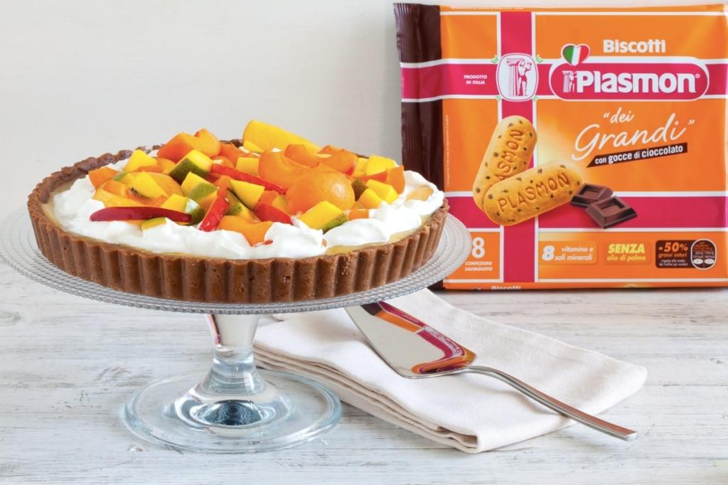 Crostata senza cottura alle pesche, mango e albicocche