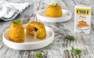 Mini sartù zucchine e gamberetti