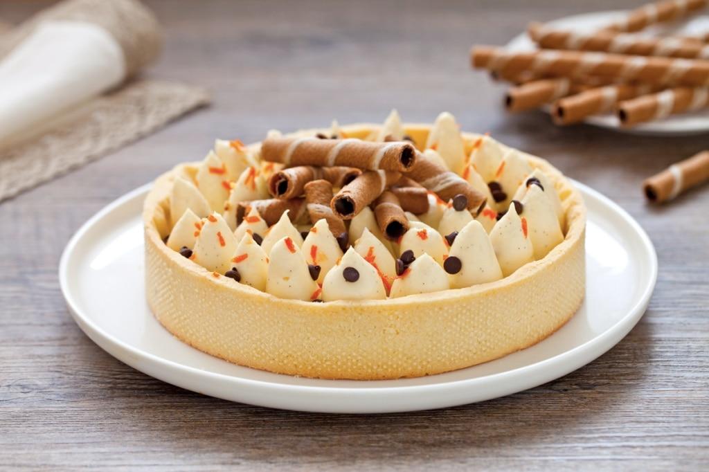 crostata con namelaka al cioccolato bianco e vaniglia