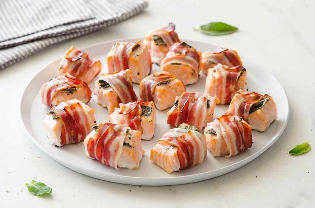 Bocconcini di salmone e bacon