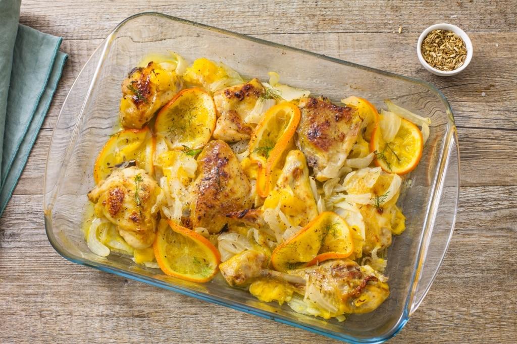 Pollo al forno con arancia e finocchio