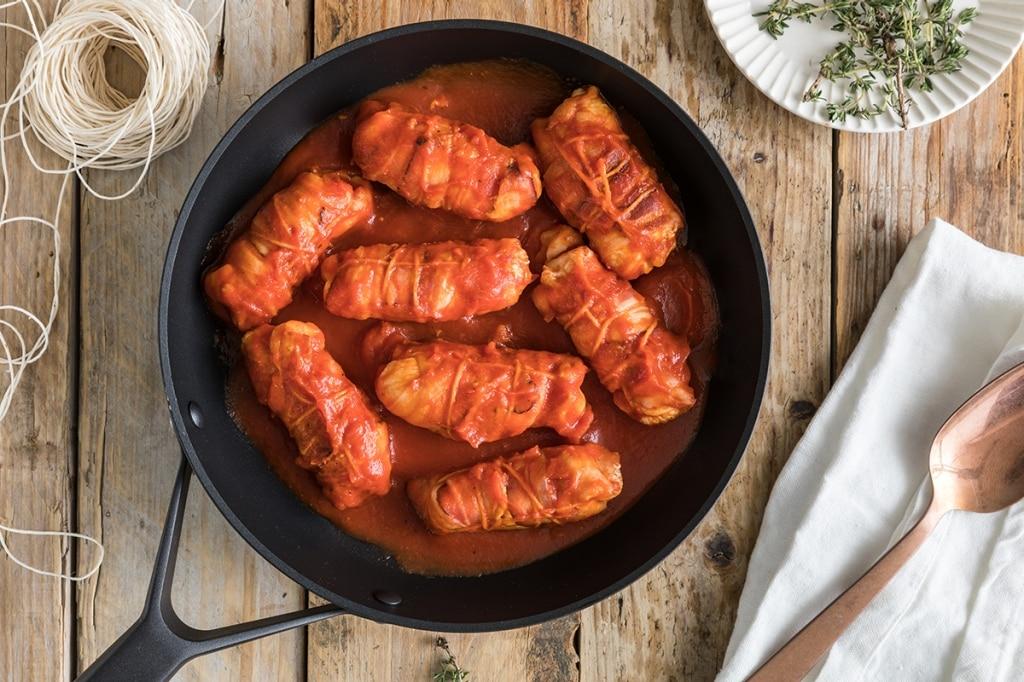 Involtini di pollo con scamorza e pancetta