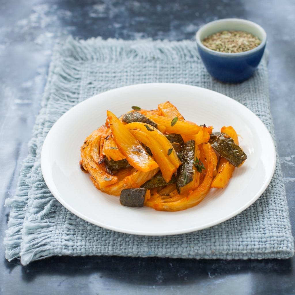 Finocchi e zucchine brasati in pentola a pressione